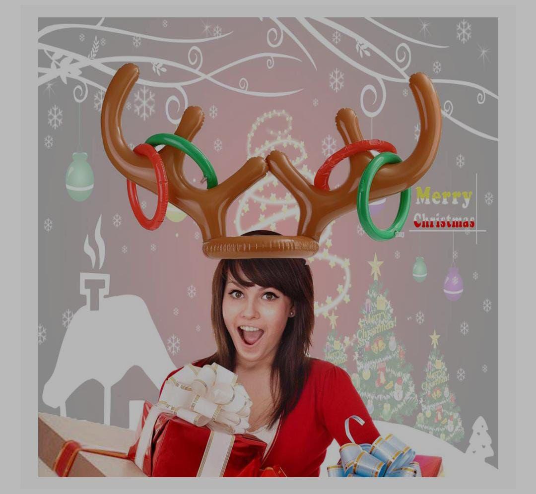 Amazon: Juego de anillos inflables de cuernos de reno para fiestas de Navidad, fiestas de Navidad en familia (2 cuernos 12 anillos)