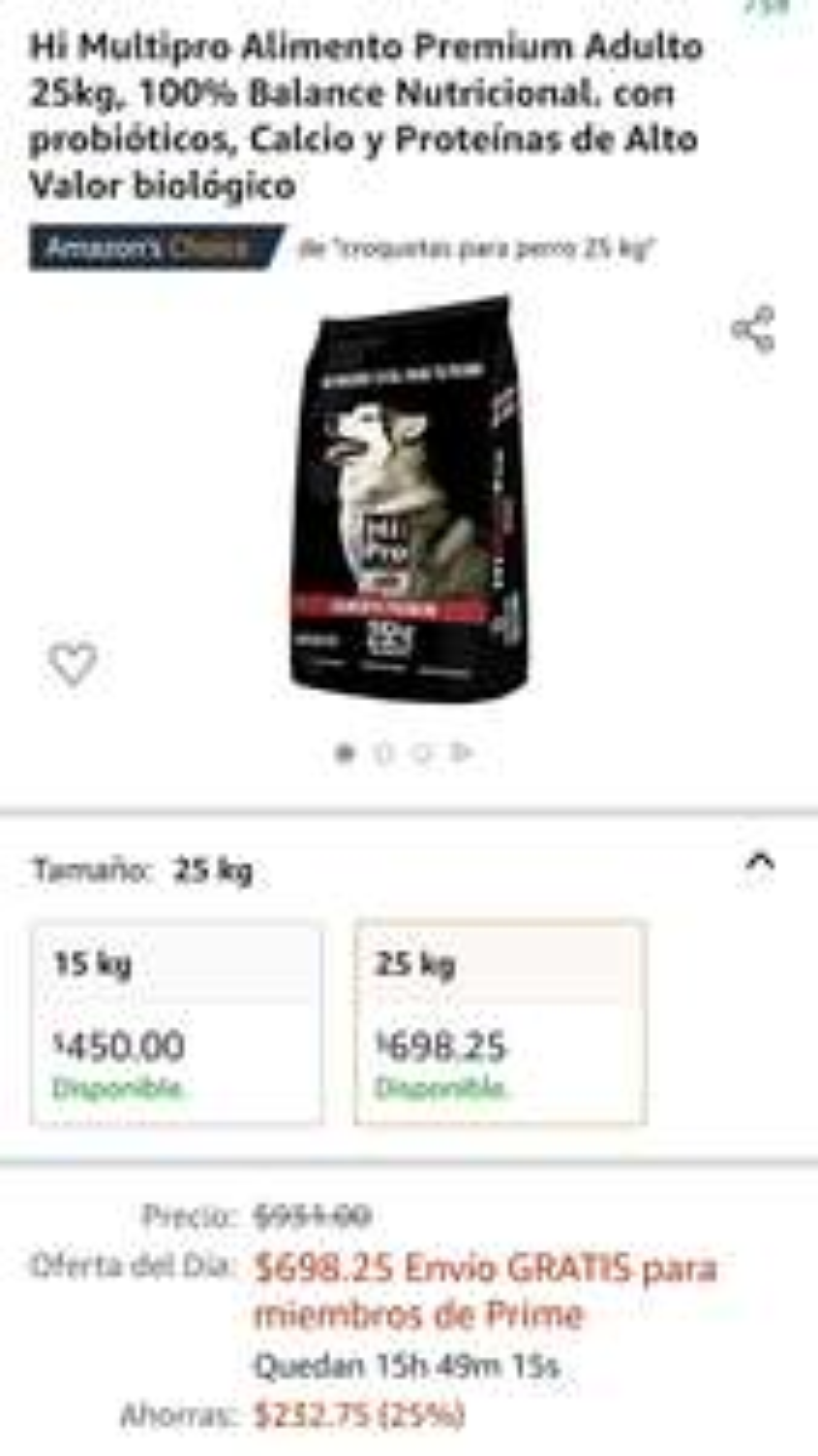Amazon: Hi Multipro Alimento Premium Adulto 25kg Croquetas