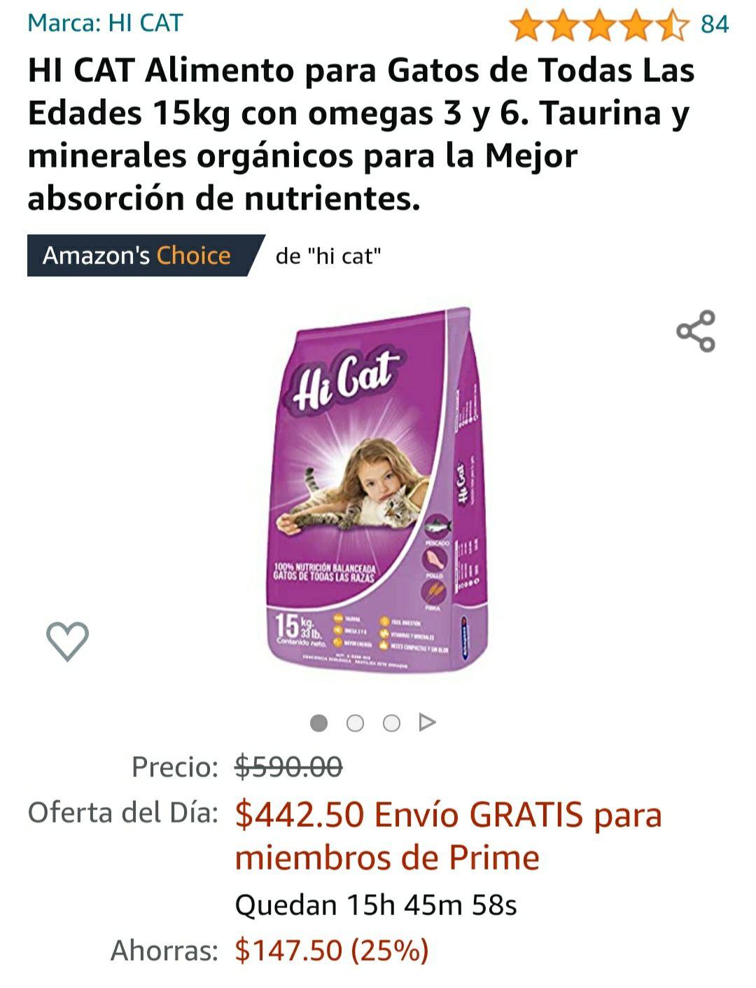 Amazon HI CAT Alimento para Gatos de Todas Las Edades 15kg croquetas