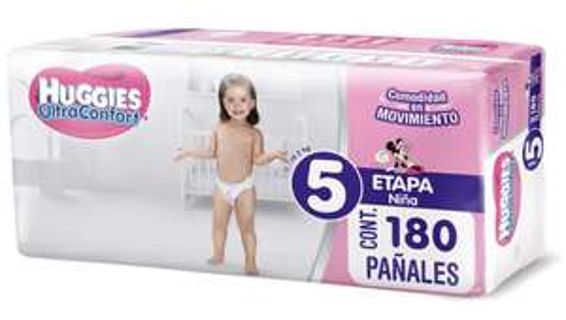 Amazon: Huggies UltraConfort Pañal para bebe, Etapa 5, Niña, 180 Piezas $585 con PLANEA Y AHORRA