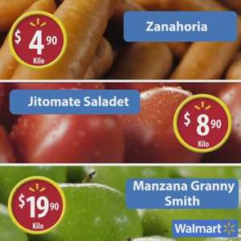 Walmart: Martes de Frescura Julio 26: Zanahoria $4.90, Jitomate $8.90, Manzana $19.90 kg.