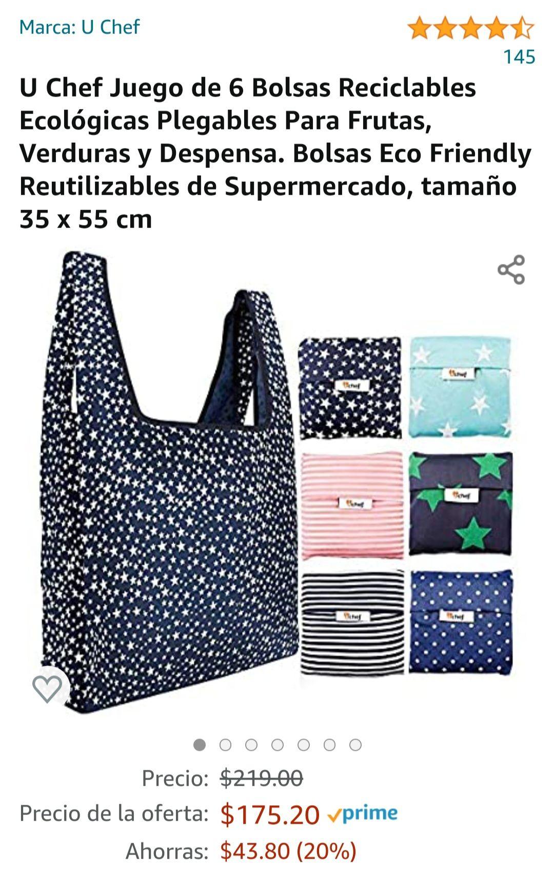 Amazon: U Chef 4.5 de 5 estrellas145Opiniones U Chef Juego de 6 Bolsas Reciclables Ecológicas Plegables Para Compras Supermercado