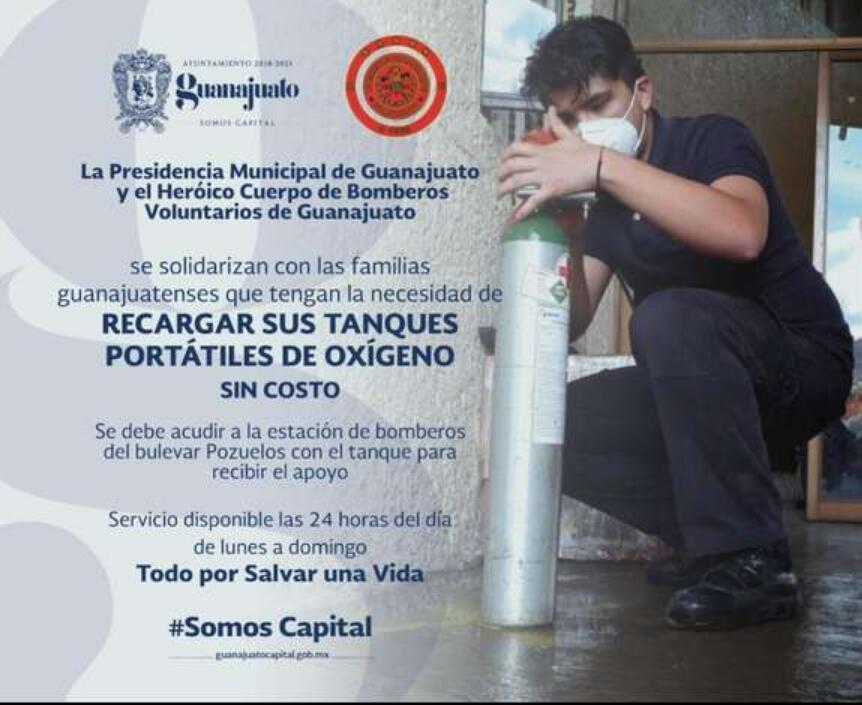 Guanajuato: recarga de tanques de oxígeno sin costo