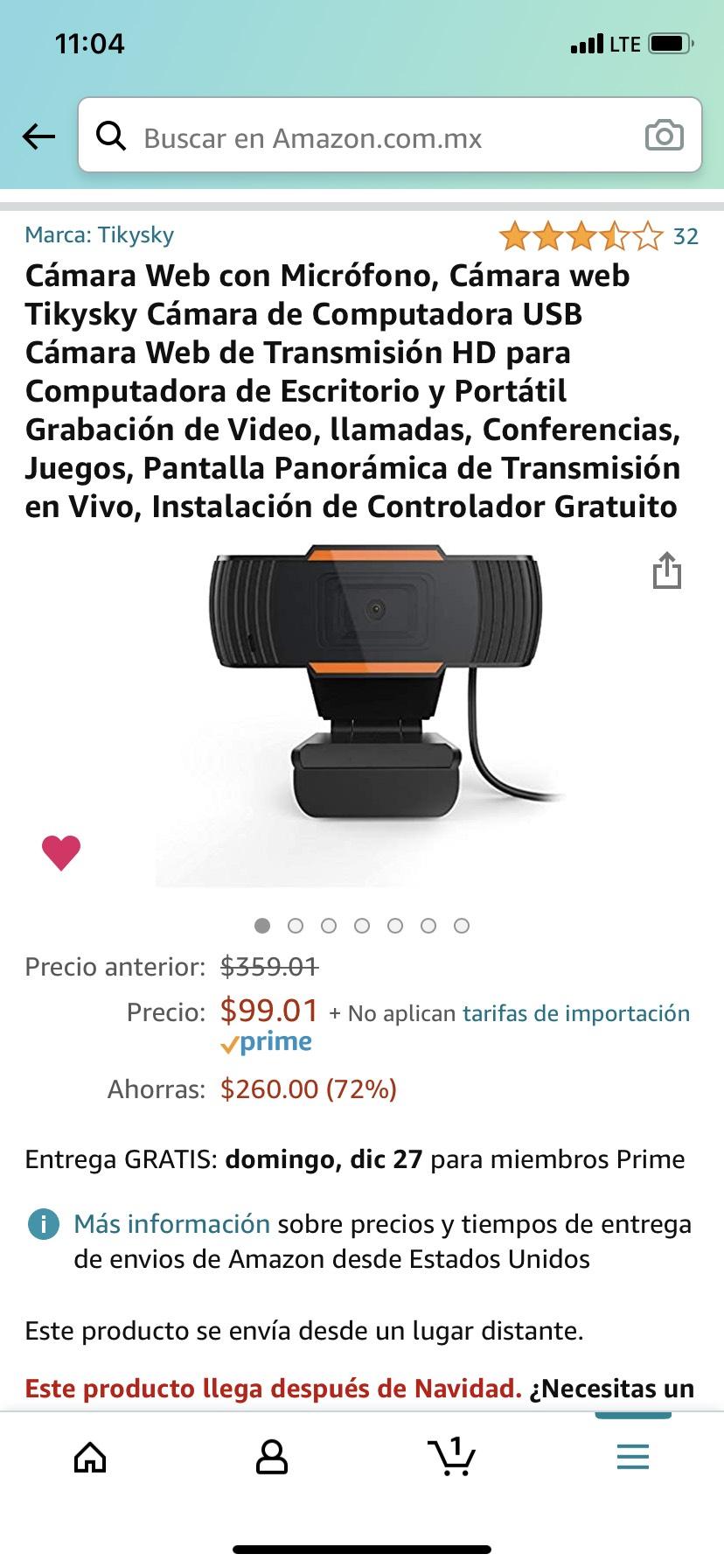 Amazon: Cámara Web Tikysky