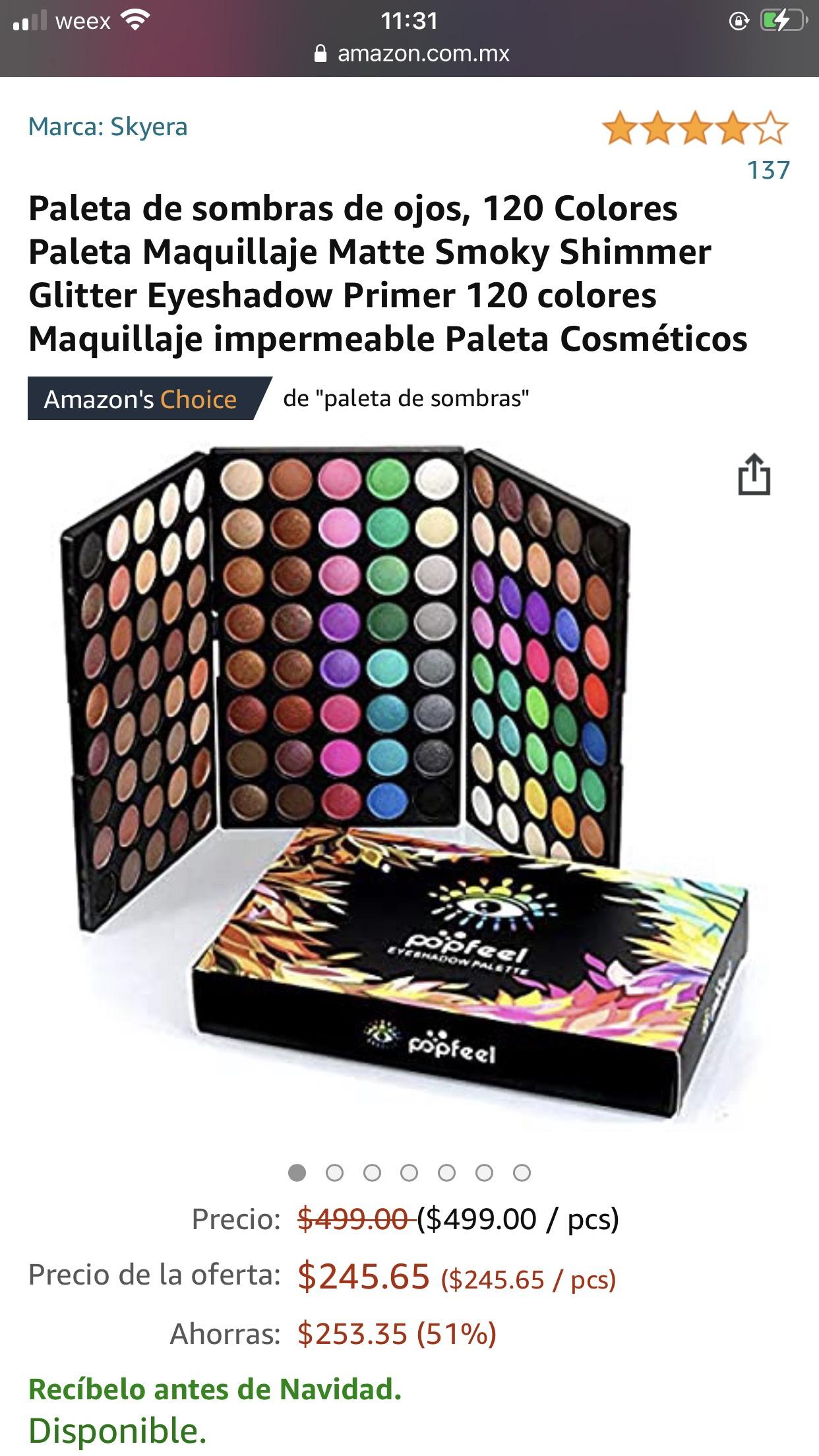 Amazon: Paleta de sombras de ojos de 120 Colores