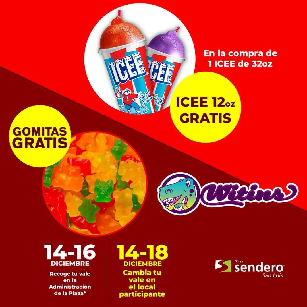 Witins (plaza sendero San Luis): Icee de 12oz + gomitas gratis en la compra de uno de 32oz