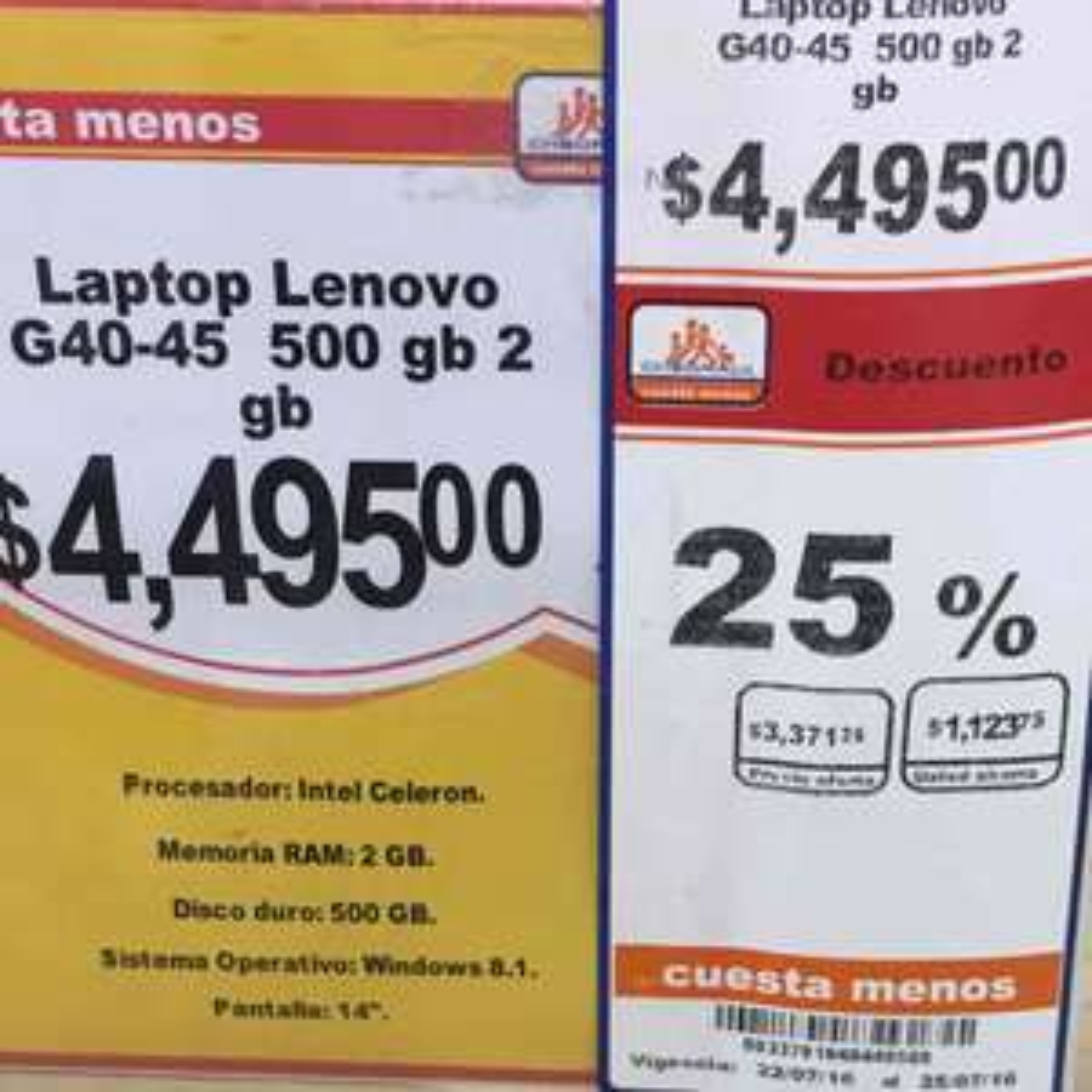 Chedraui: Lenovo G40-45 Nueva a $3,372