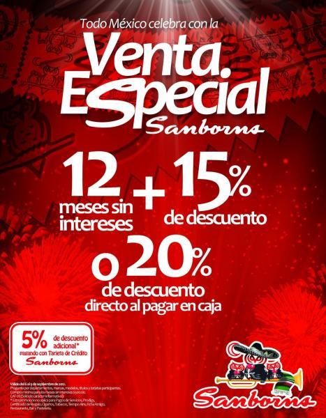 Venta Especial Sanborns: 12 MSI y 15% de descuento o 20% directo