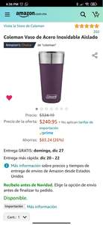 Amazon: Vaso termico coleman 20oz