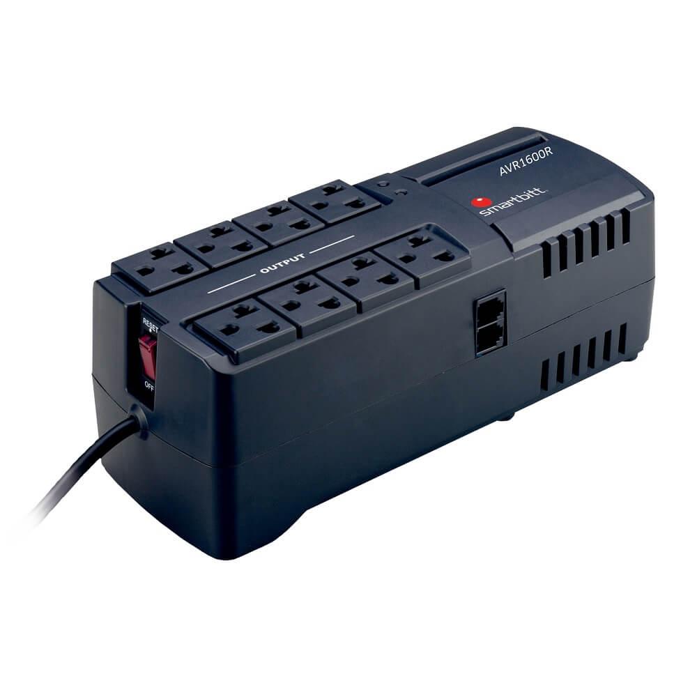 Best Buy; Smartbitt - Regulador electrónico de voltaje y supresor de picos con 8 contactos 1600VA - Negro