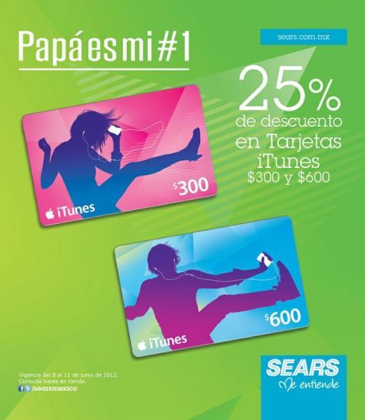 Sears: 25% de descuento en tarjetas iTunes