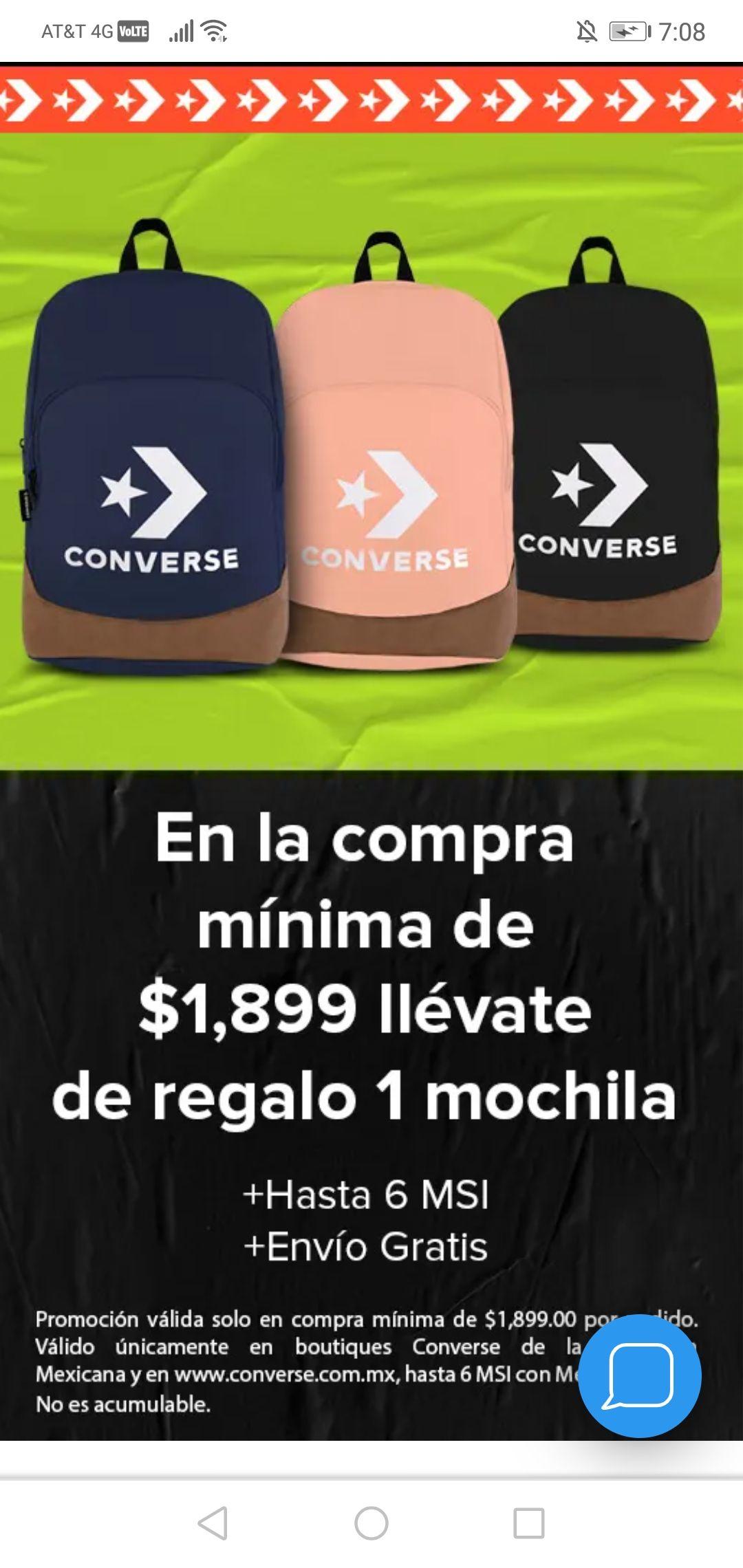 Converse, mochila gratis ($1,899.00)