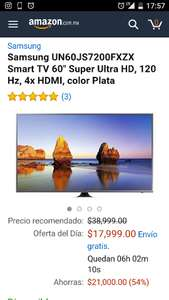 "Amazon: Samsung UN60JS7200FXZX Smart TV 60"" Super Ultra HD, 120 Hz, 4x HDMI, color Plata"
