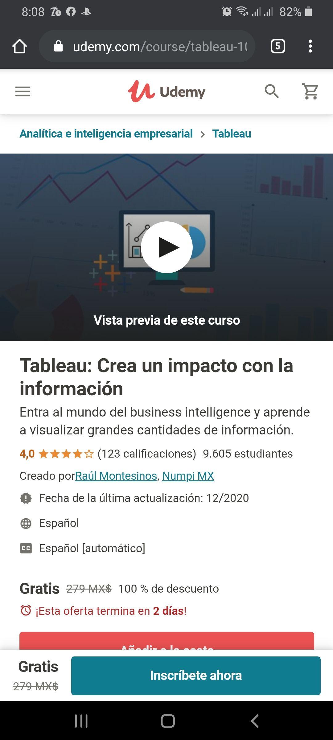 Udemy: Tableau: Crea un impacto con la información