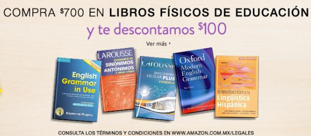 Amazon: $100 de descuento en libros de educación y referencia (mín $700)