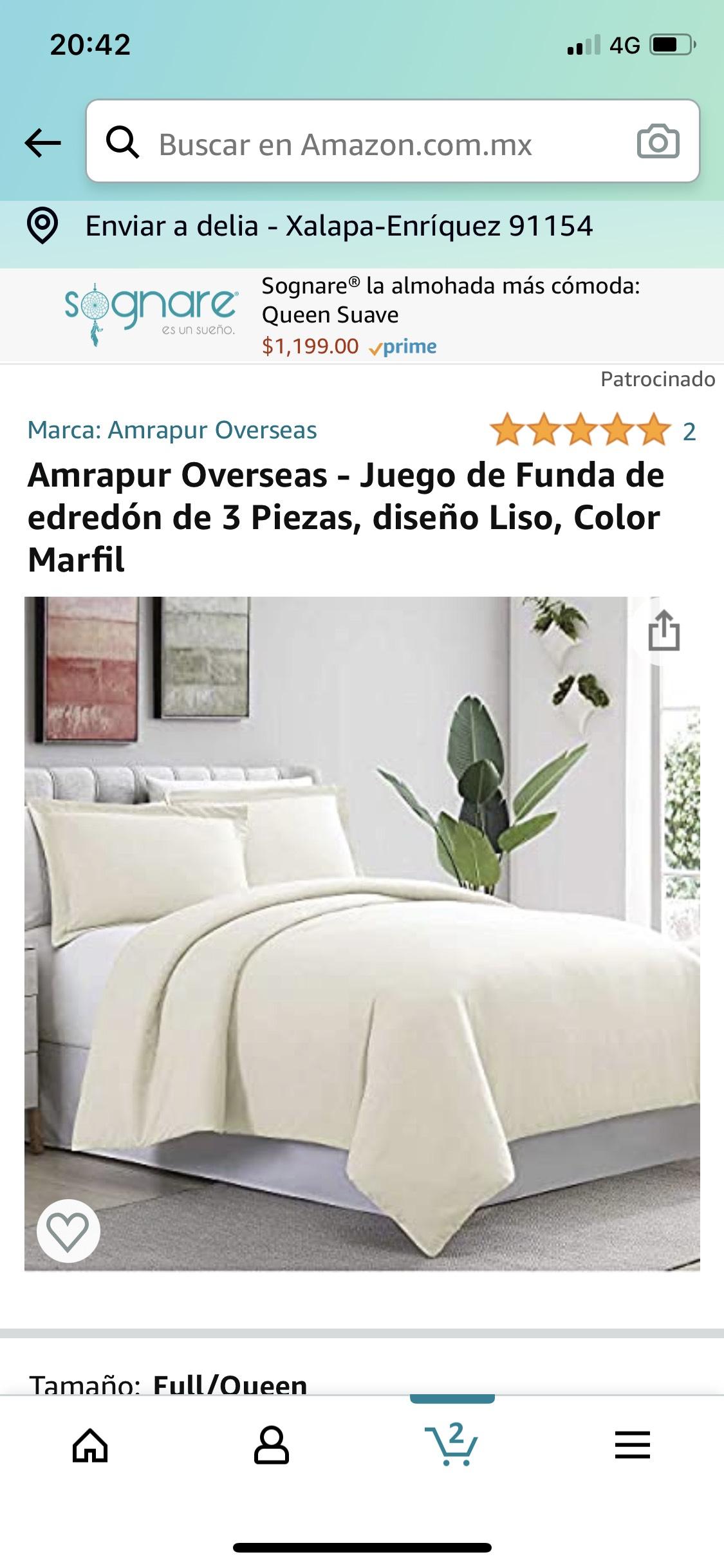 Amazon: Juego de Funda de edredón de 3 Piezas, diseño Liso, Color Marfil Queen Size