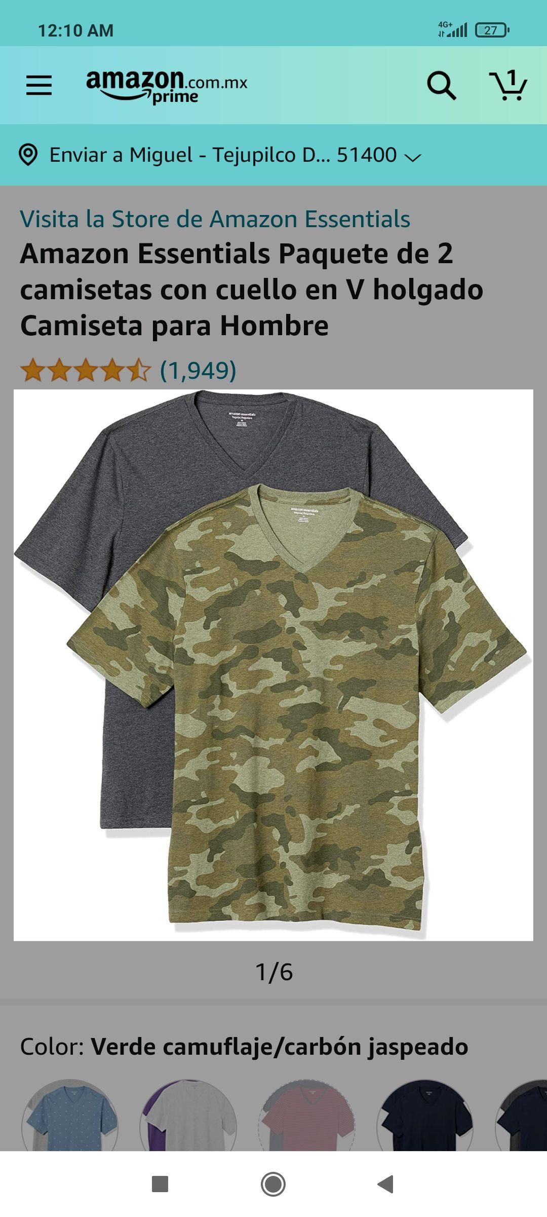 Amazon: Dos camisetas hombre
