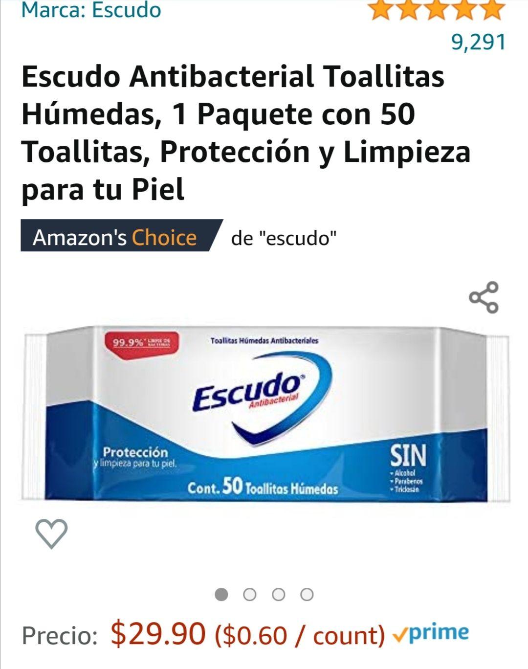 Amazon: Escudo Antibacterial Toallitas Húmedas, 1 Paquete con 50 Toallitas, Protección y Limpieza para tu Piel