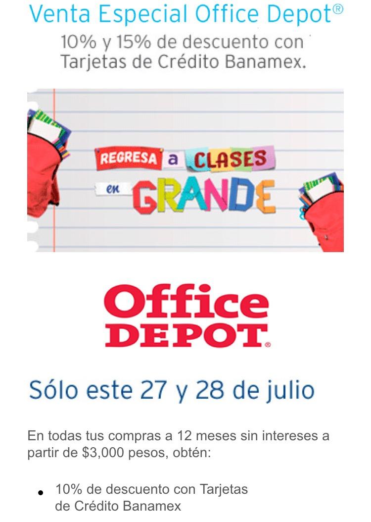 Office Depot: 10% de descuento con tarjetas de crédito Banamex y 15% con tarjeta Office Depot en toda la tienda