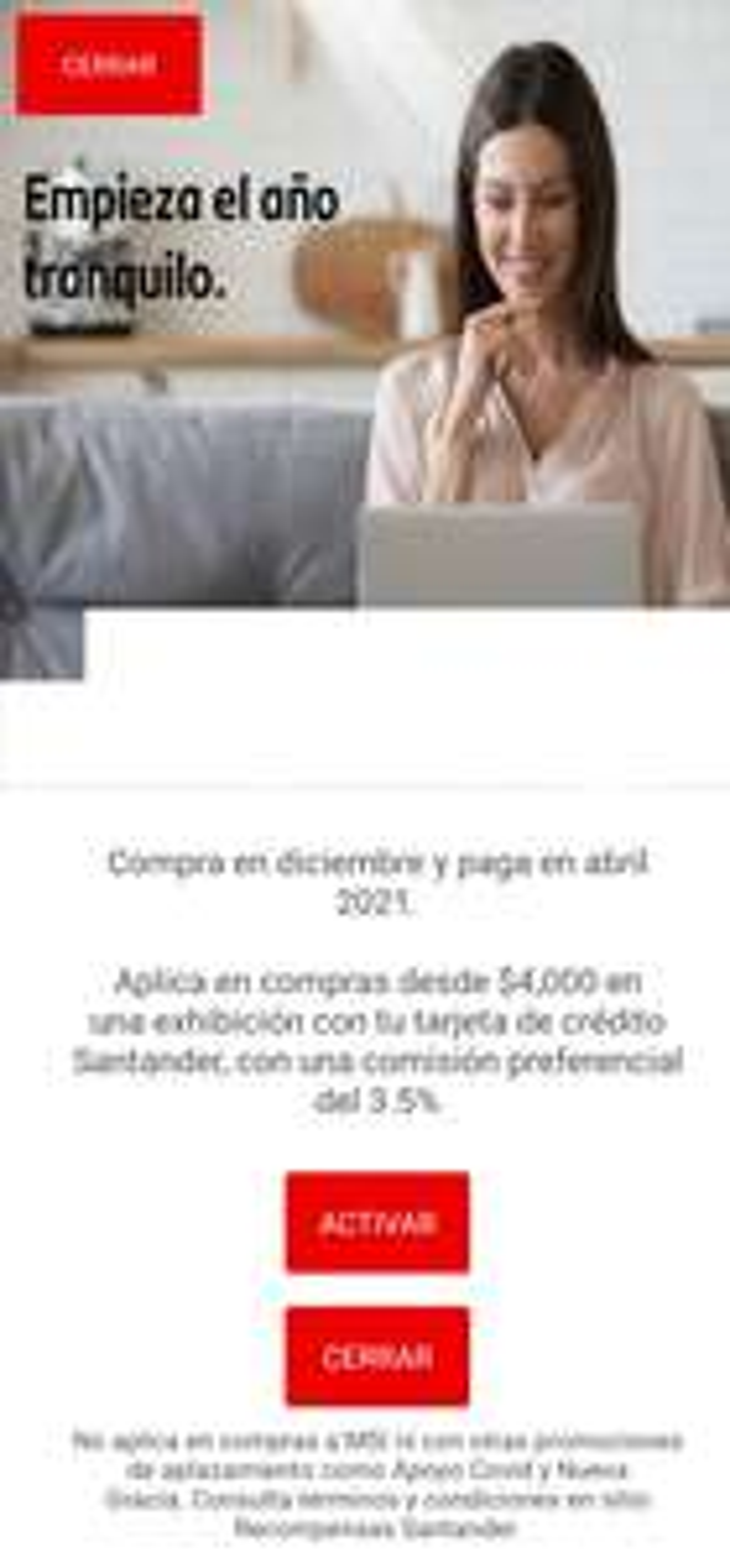 Santander - Compra en Diciembre y paga en Abril 2021