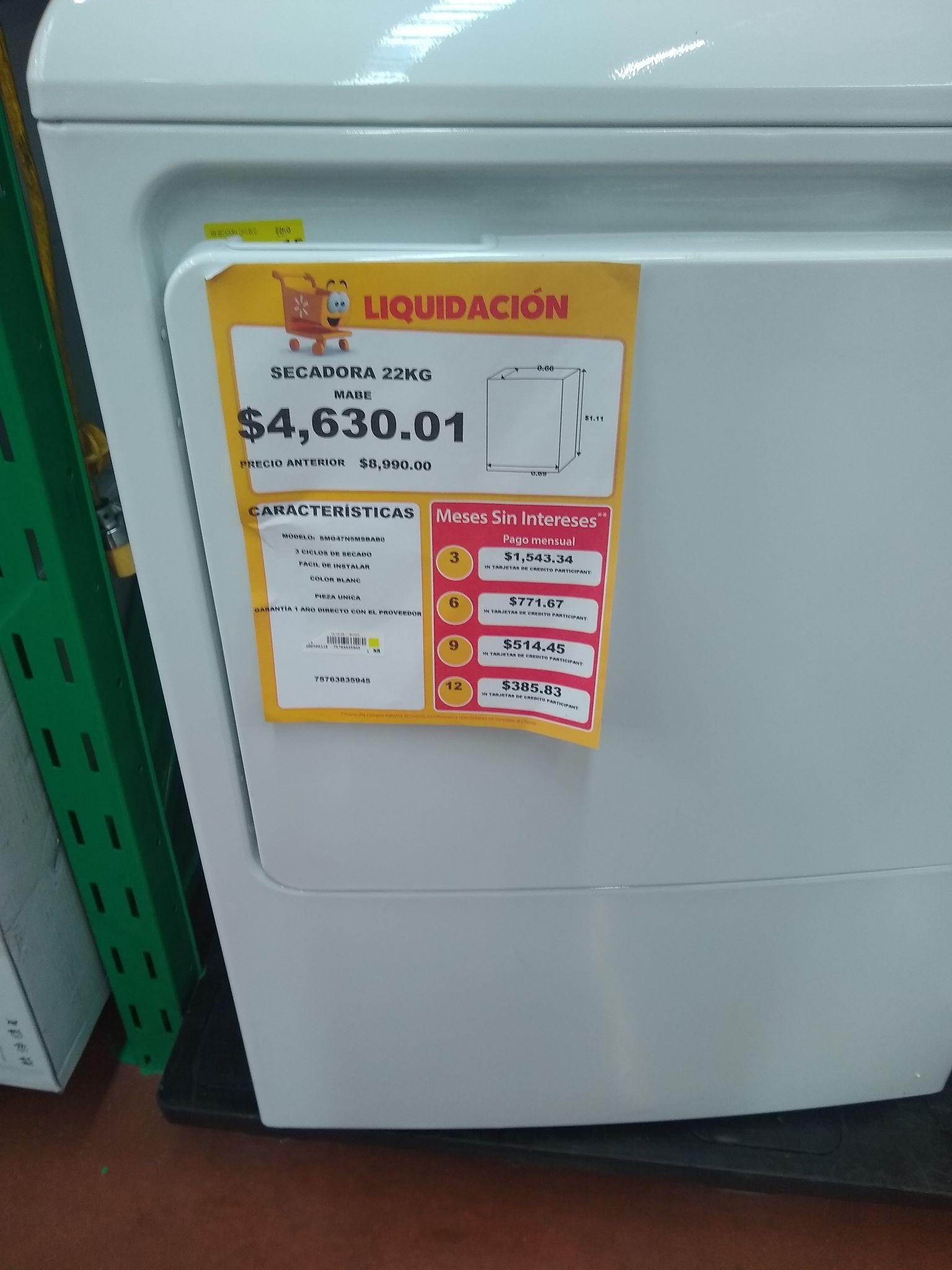 Walmart: Secadora MABE 22kg y Horno LG Inverter en última liquidación