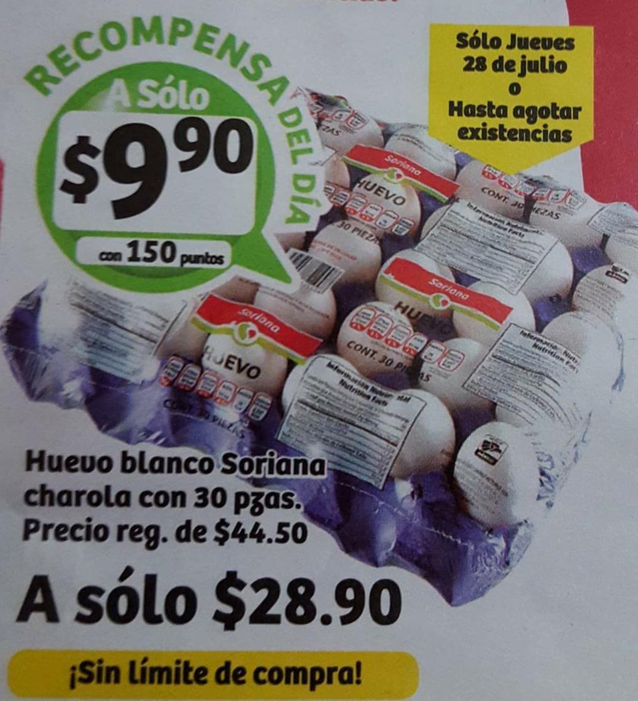 Soriana: Huevo blanco Soriana 30 pzas por $28.90