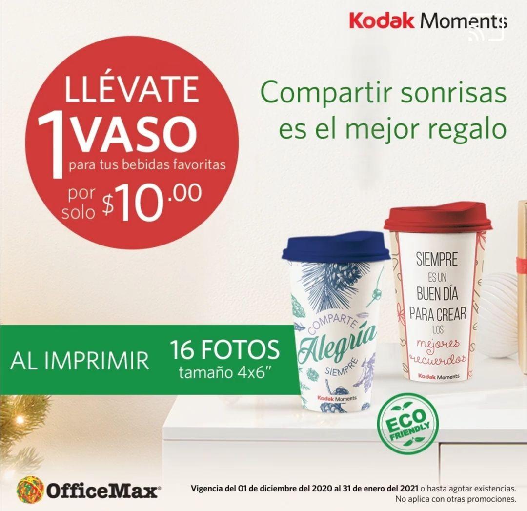 OfficeMax: llévate un vaso $10 al imprimir tus fotos Kodak