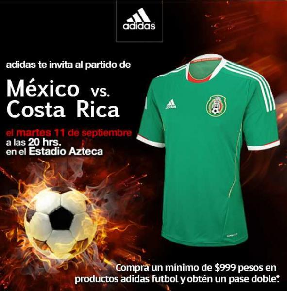 Boleto doble para México vs Costa Rica gratis al comprar productos Adidas