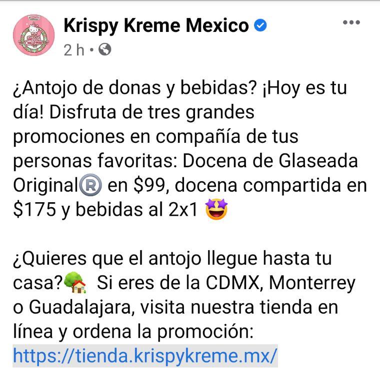Krispy Kreme Docena Glaseada Original $99 Compartida $175 bebida al 2x1