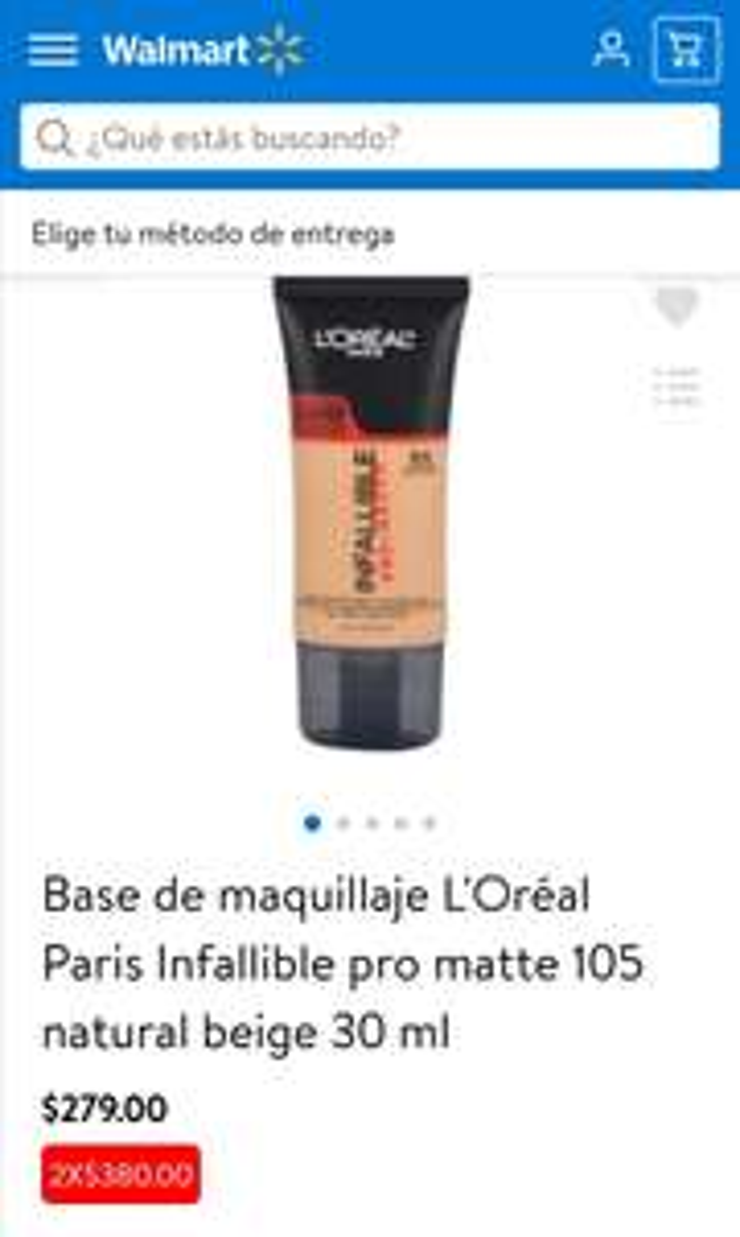 Walmart: Base de maquillaje L'Oréal 2X$380