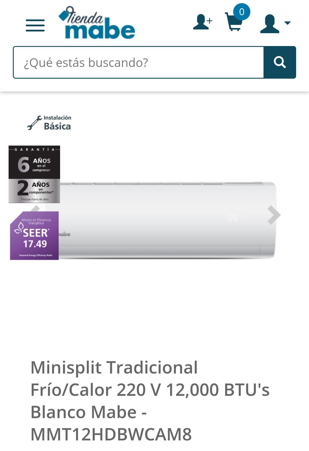 Tienda Mabe: Minisplit 1 tonelada para frío y calor+instalación básica gratis