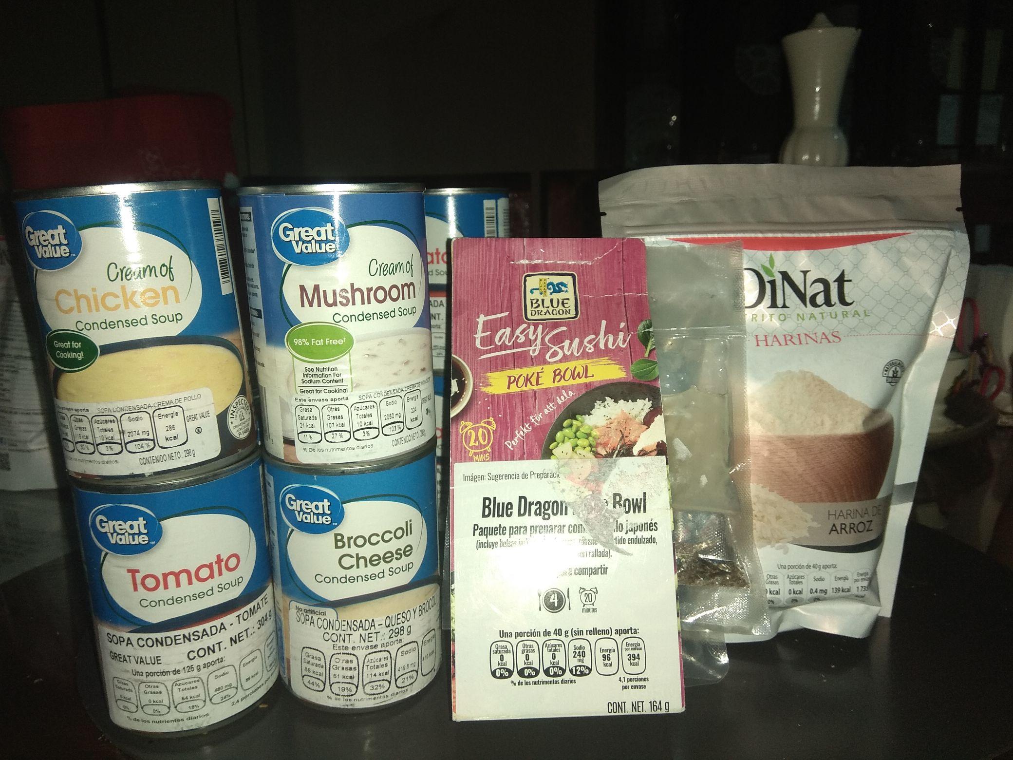 Walmart: Sopas condensadas varias Great Value, Harina de arroz DiNat, Blue Dragón Poké Bowl