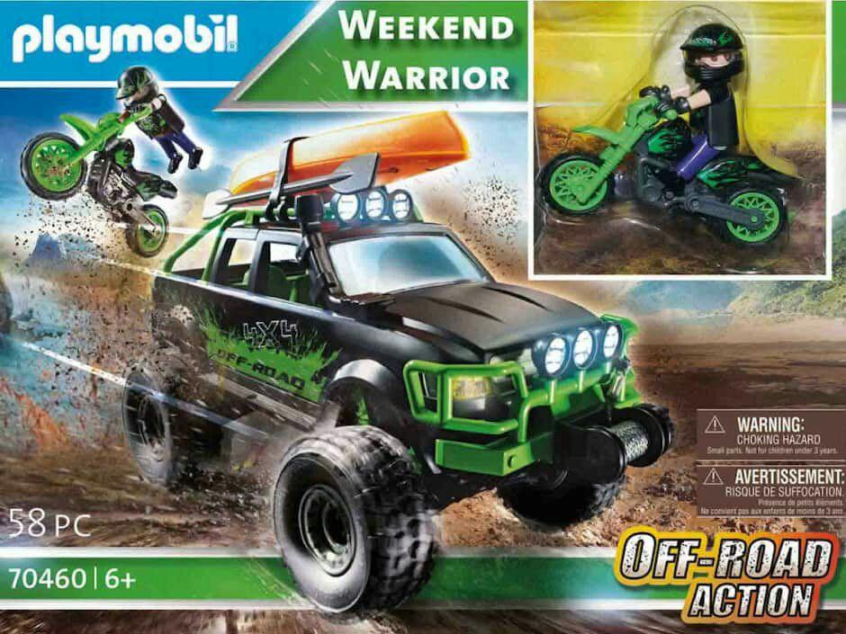 Liverpool: Set de Playmobil con camioneta off road, moto y kayak