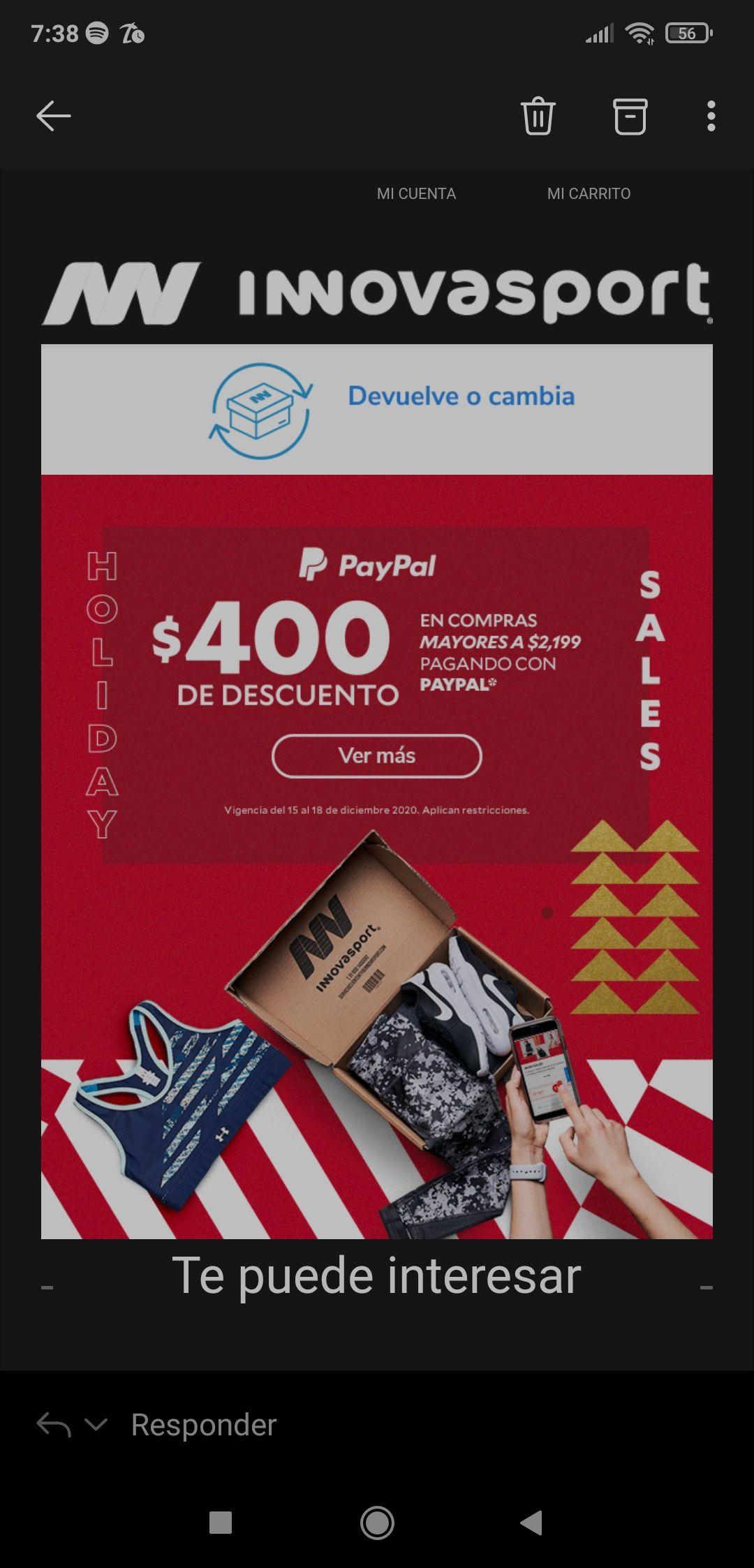 Innovasport: $400 de descuento pagando con paypal en compras mayores a 2199