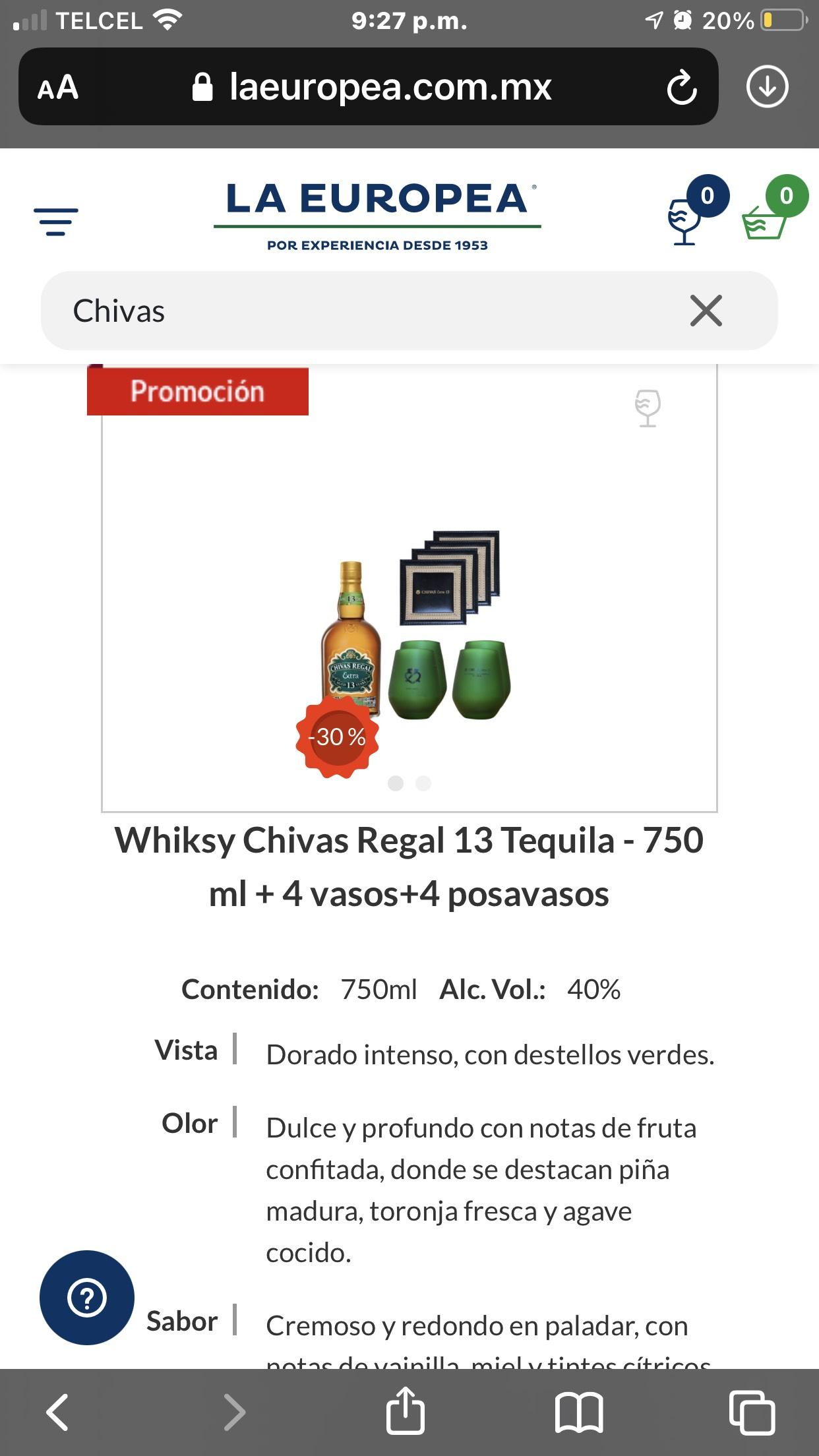 La Europea: Whiksy Chivas Regal 13 Tequila - 750 ml + 4 vasos+4 posavasos