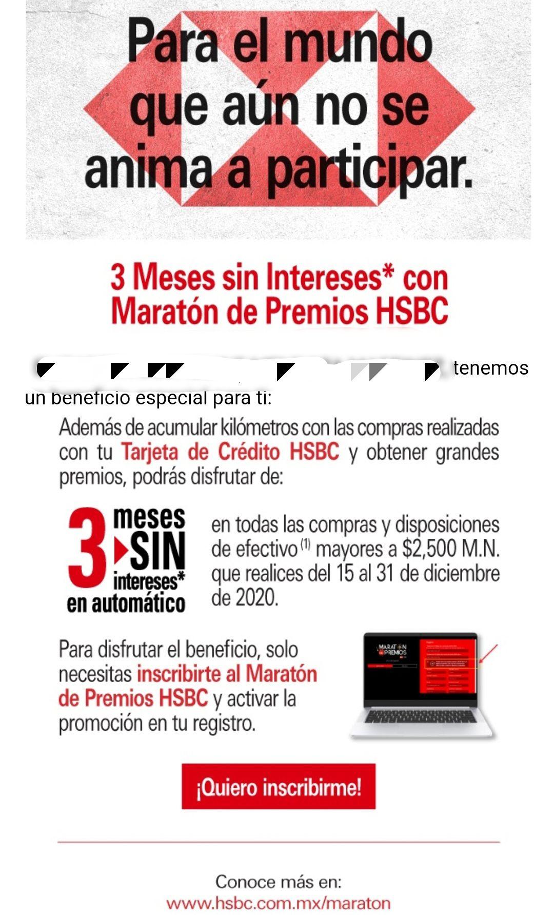 HSBC 3MSI en Maratón de Premios 2020 (Beneficio Adicional)
