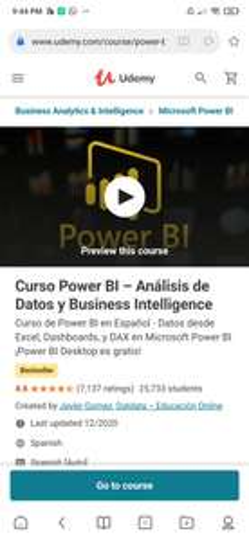 Udemy : curso Power BI Análisis de datos y Bussines Intelligence