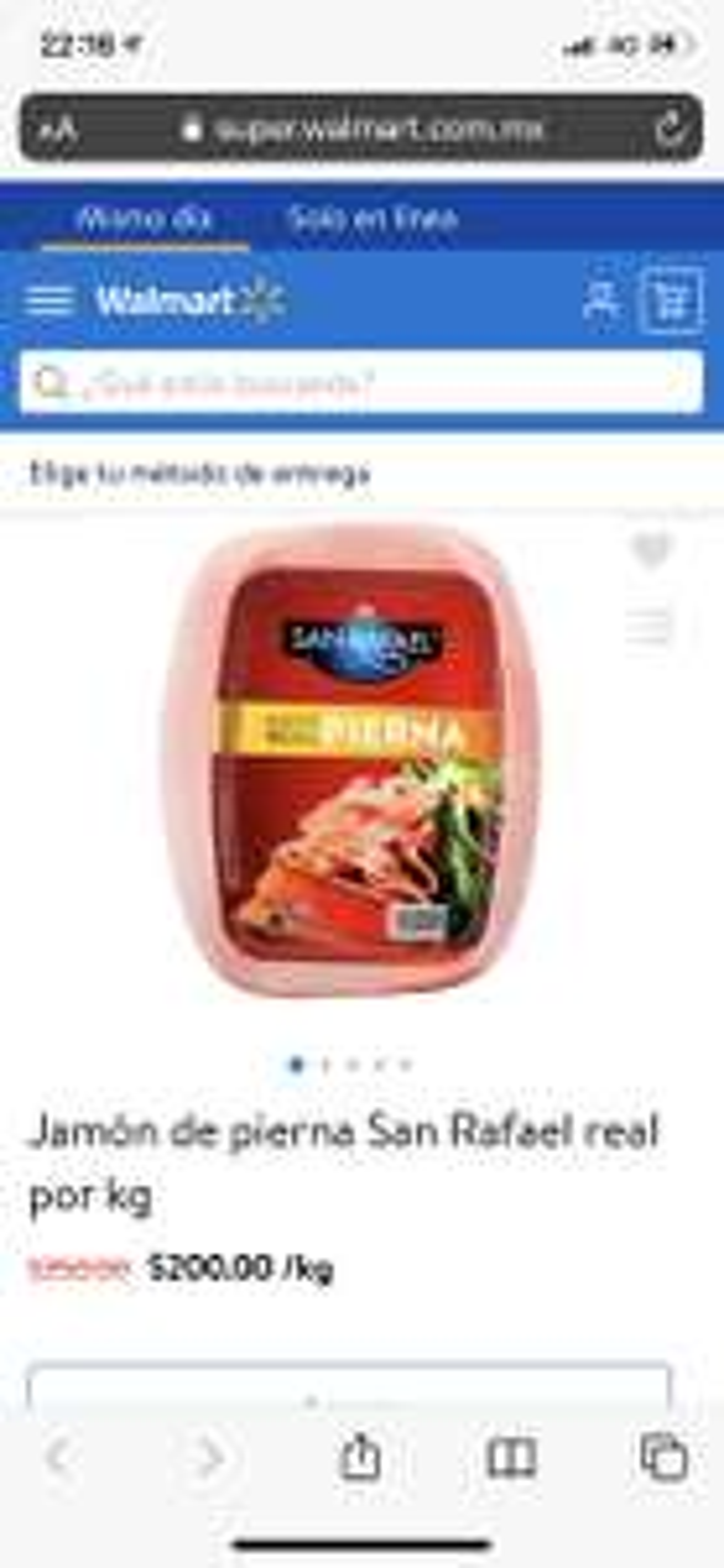 Walmart: kg de Jamón de pierna San Rafael