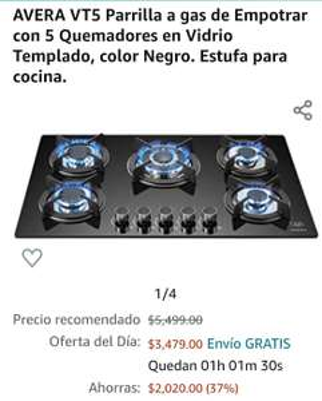 Amazon: Parrilla de 5 quemadores en vidrio templado de $5499 a $3479.00