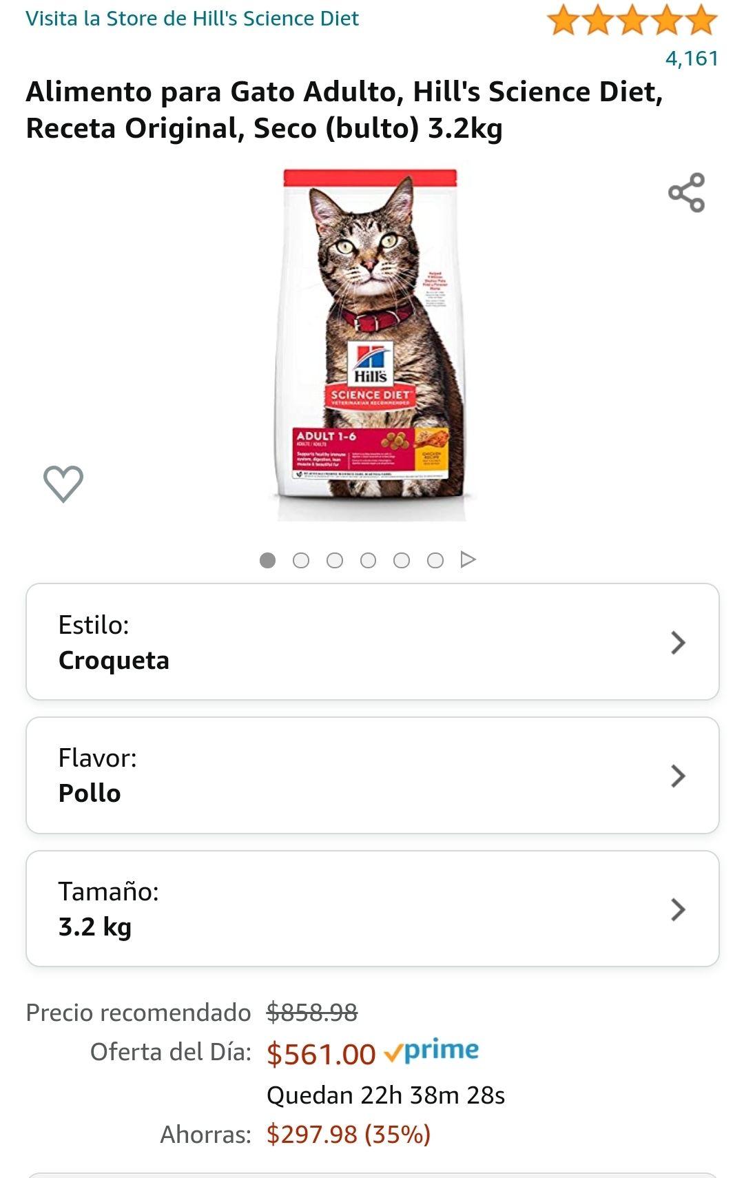 Amazon: Alimento para Gato Adulto, Hill's Science Diet, Receta Original, Seco (bulto) 3.2kg