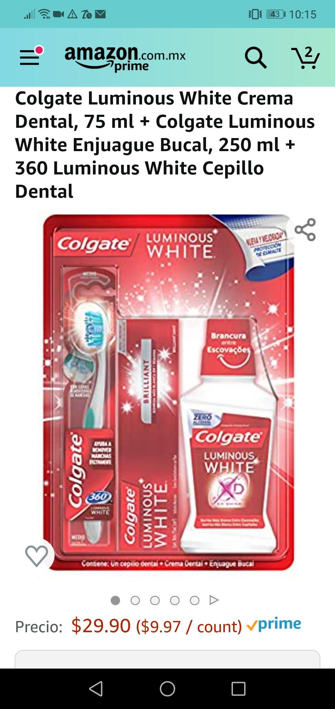 Amazon: Colgate Luminous White Crema Dental, 75 ml + Colgate Luminous White Enjuague Bucal, 250 ml + 360 Luminous