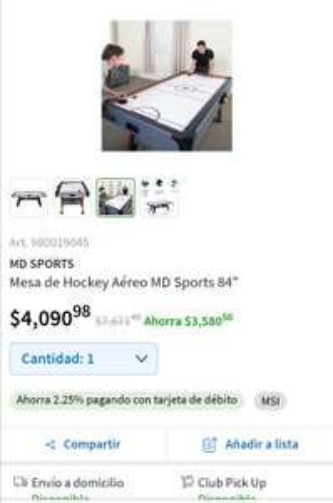 "Sam's Club: Mesa de hockey aéreo MD Sports 84"""