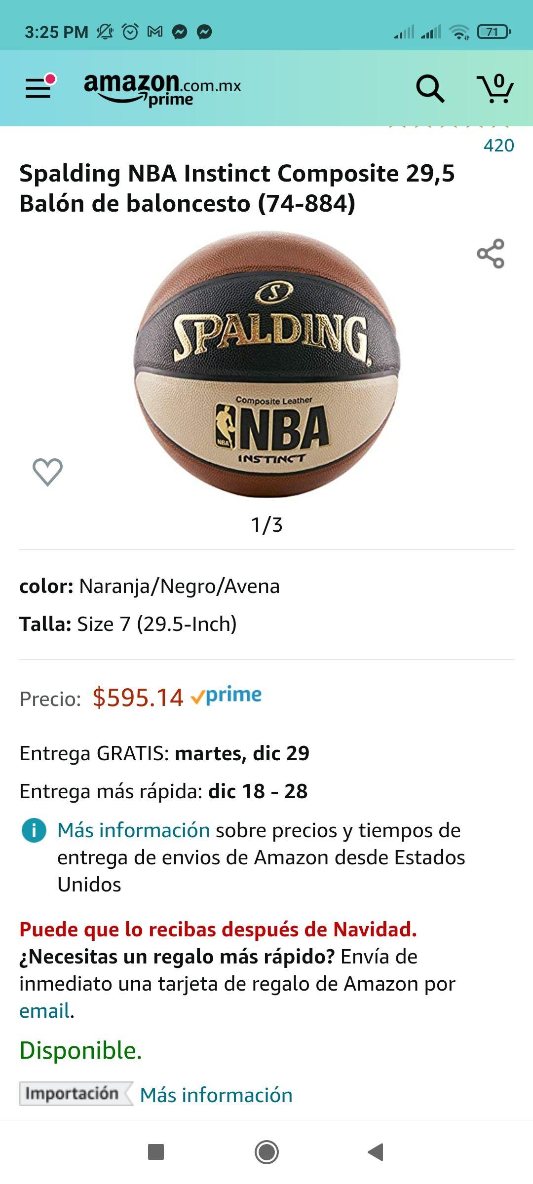 Amazon: Spalding NBA Instinct Composite 29,5 Balón de baloncesto
