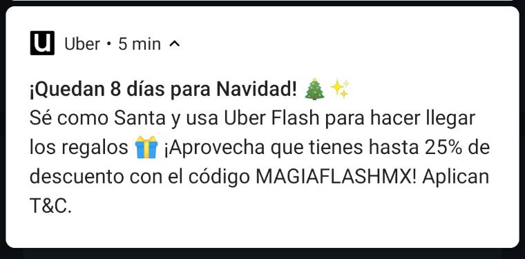 Uber 25% descuento en viaje de hasta 80 pesos