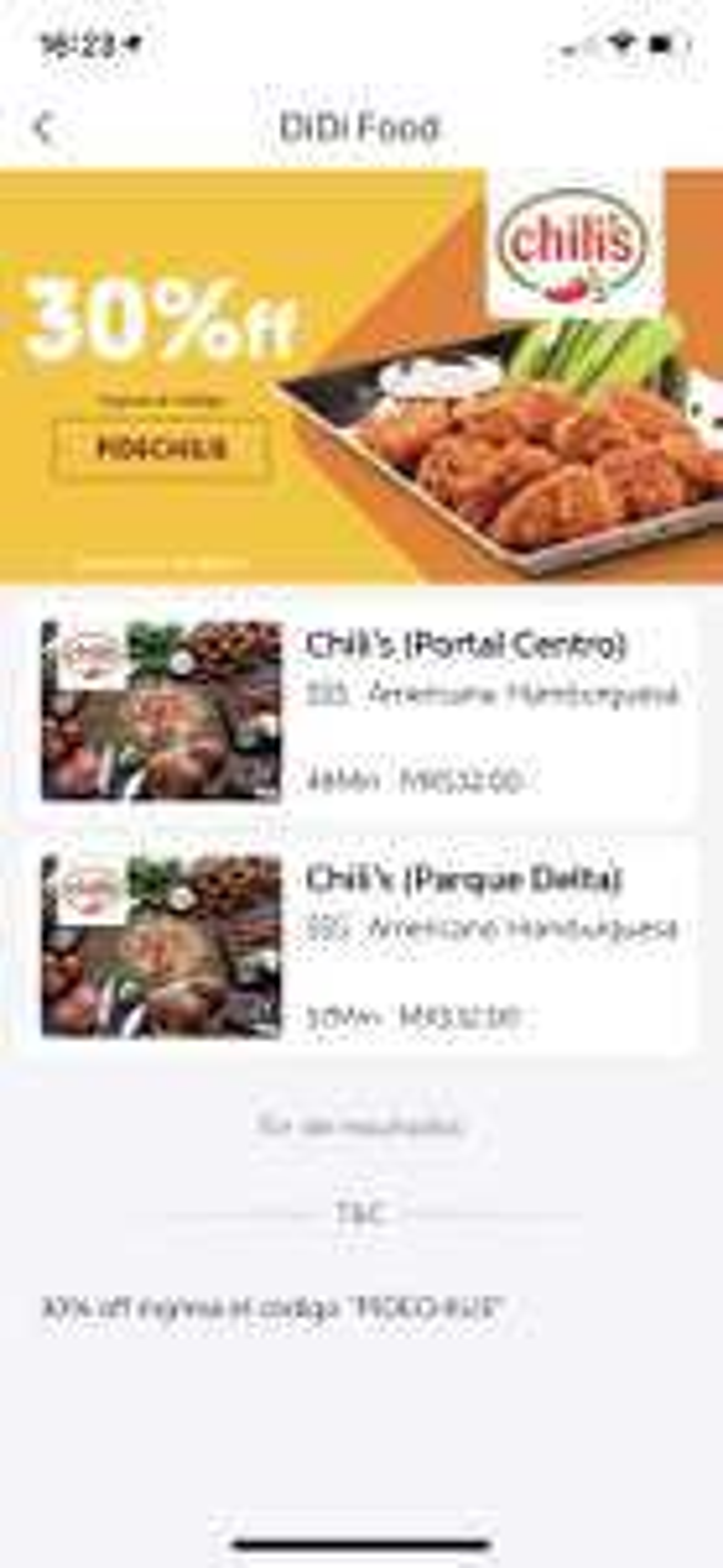 DiDi Food: 30% en Chili's