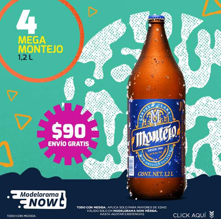 Modelorama: 4X$90 en Cervezas Mega Montejo de 1.2 litros + Envío Gratis
