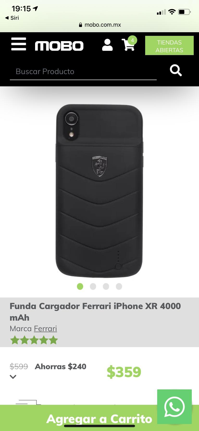 Mobo: Cargador funda Ferrerari para IPhone XR