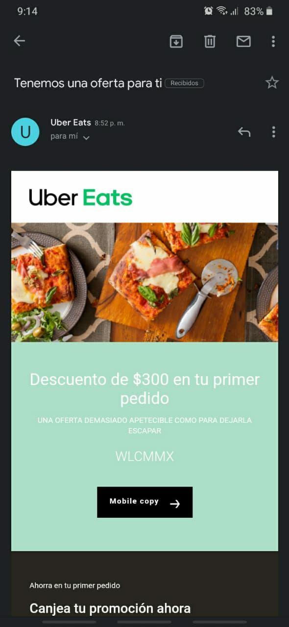 Uber Eats: Descuento de $300 en primer pedido