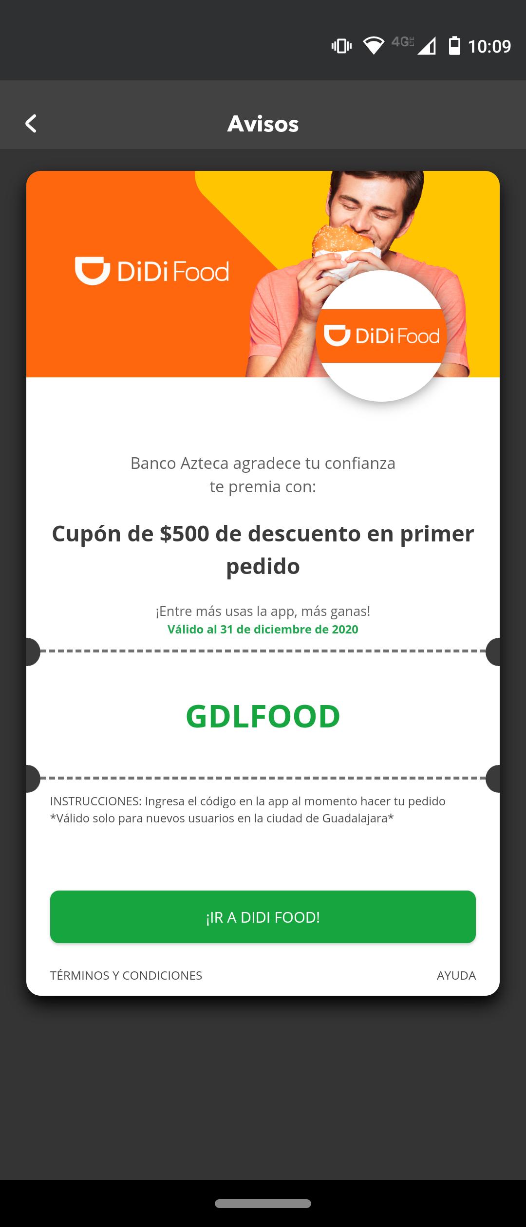 DiDi Food: $500 de descuento primer pedido