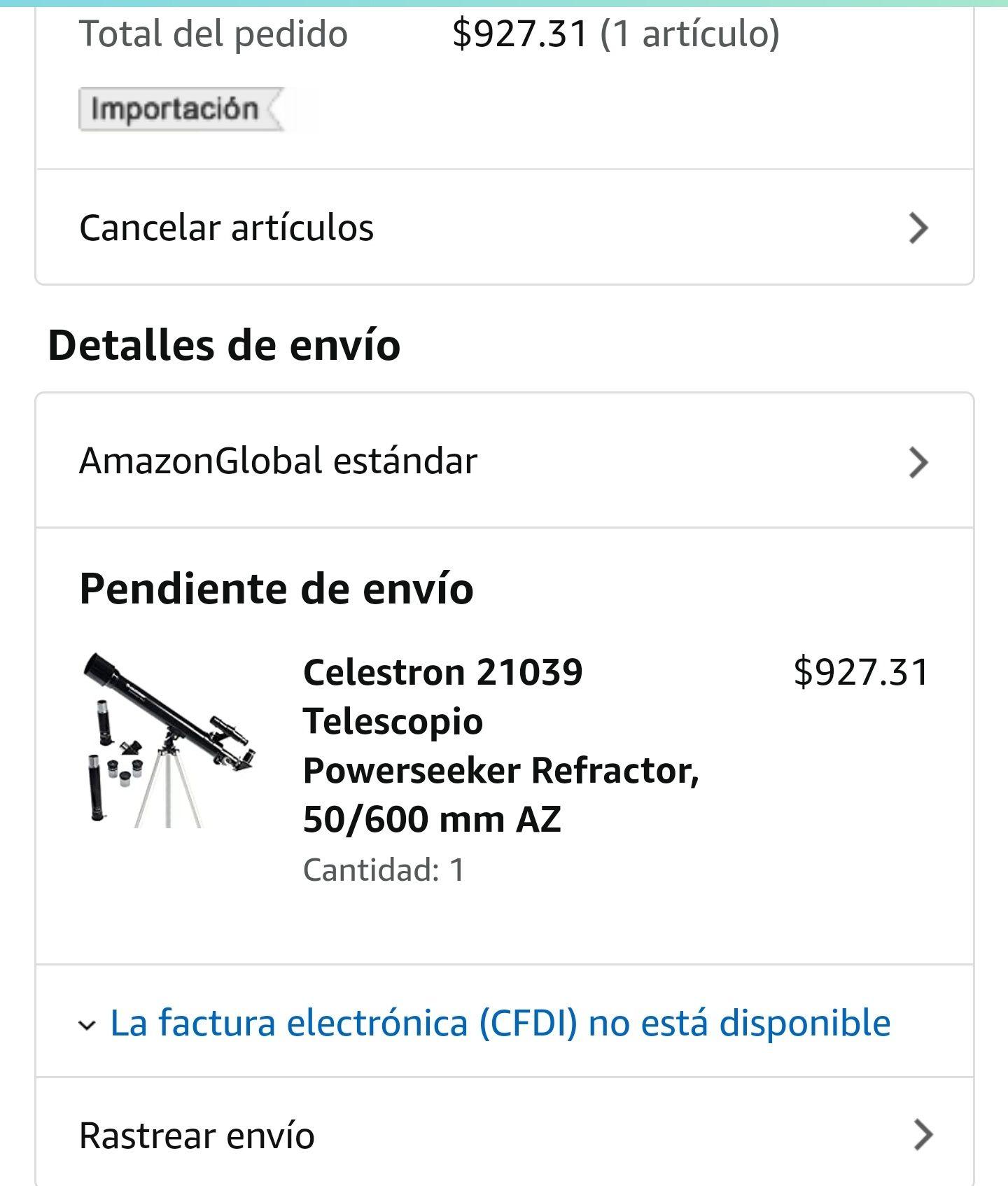 Amazon: Telescopio Celestron(para la bendi)